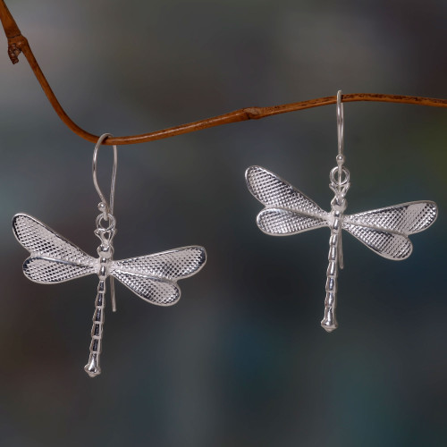 Dragonfly Earrings in Sandblasted Sterling Silver 925 'White Dragonfly'