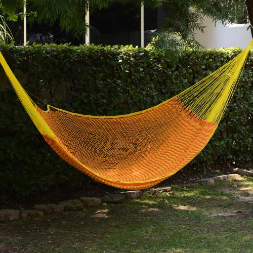Mexican Hand Woven Yellow Cotton Hammock 400 lb Capacity 'Saffron Sun'