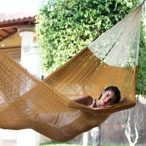 Mexican Hand Woven Yellow-Brown Cotton Hammock Triple Size 'Caribbean Sun'