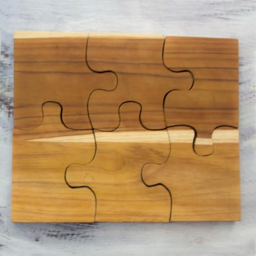 Six Interlocking Eco-Friendly Teakwood Trivets 'Puzzle'