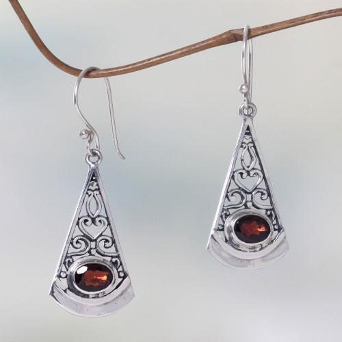 Natural Garnet Dangle Earrings in 925 Sterling Silver 'Mount Agung Crimson'