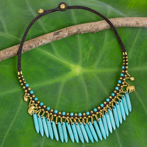 Hand Crafted Necklace with Blue Calcite and Brass Elephants 'Elephant Dreams'