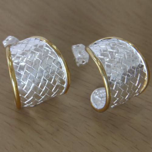 Half Hoop Earrings in Sterling Silver with 18k Gold Accents 'Celuk Weave'