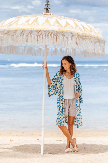 Tropical Print Women's Blue and Ivory Rayon Robe 'Blue Floral Jungle'