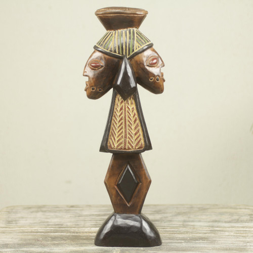 African Yoruba Storm Deity Wood Sculpture Carved by Hand 'Shango'