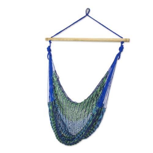 Mexican Blue Green Hand Woven Cotton Hammock Swing Chair 'Maya Breeze'