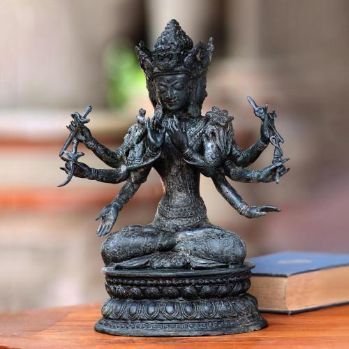 Hindu Triad Antiqued Bronze Sculpture from Bali 'Trimurti'