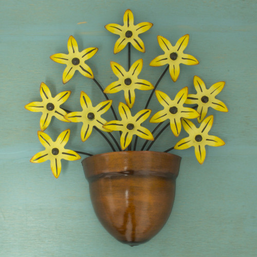 Yellow Flower Iron Wall Sculpture Crafted by Hand 'Black-Eyed Susan'