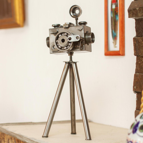 Mexico Eco Friendly Upcycled Metal Camera Sculpture 'Rustic Camera'