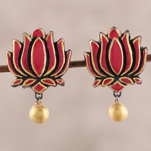 Pink and Gold Colored Hand Painted Terracotta Earrings 'Lotus Majesty'