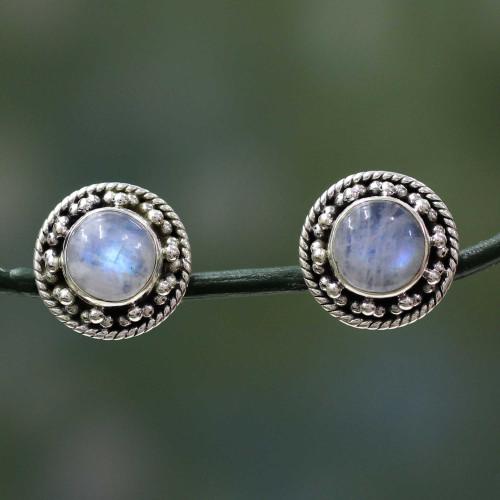 Artisan Crafted Sterling Silver Rainbow Moonstone Earrings 'Lavish Moons'