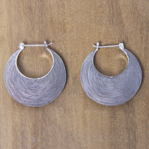 Handmade Textured Sterling Hoop Earrings from Bali 'Hypnotic Bali Moon'