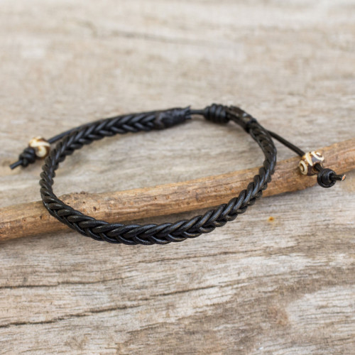 Braided Black Leather Mens Bracelet 'Single Black Braid'
