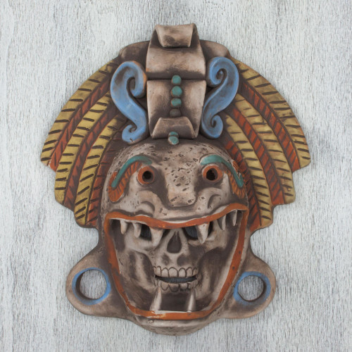 Handcrafted Mexican Ceramic Skull and Serpent Mask 'Quetzalcoatl Warrior'