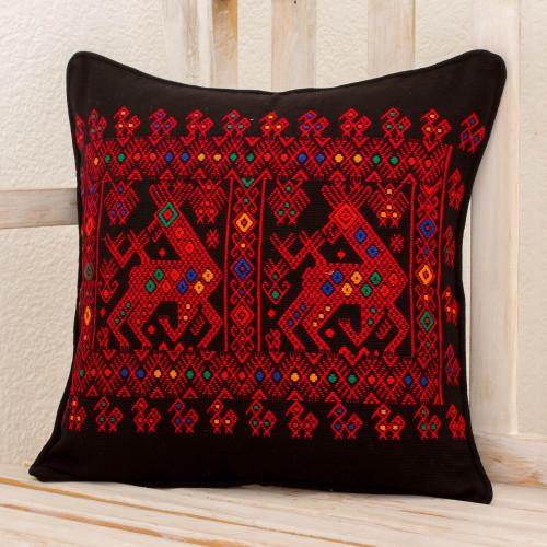 Red Deer Theme Maya Backstrap Black Cotton Cushion Cover 'Red Maya Deer'