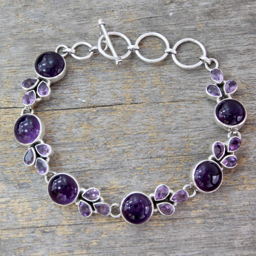 Artisan Crafted Silver Link Bracelet with Amethysts 'Glorious Purple'