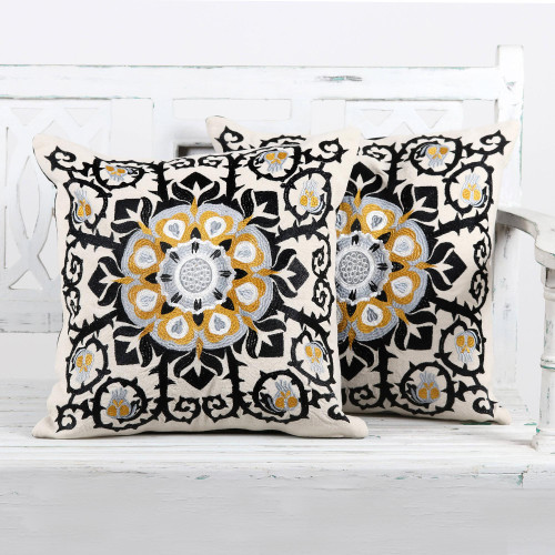 Embroidered Cotton Ecru Cushion Covers from India Pair 'Jaipur Blossom'