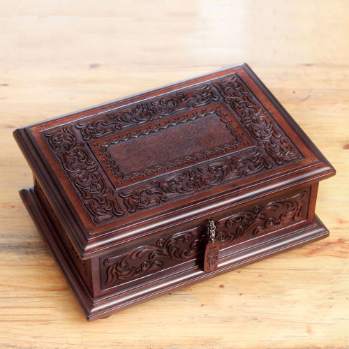 Peruvian Colonial Hand Tooled Brown Leather Jewelry Box 'Spanish Heritage'