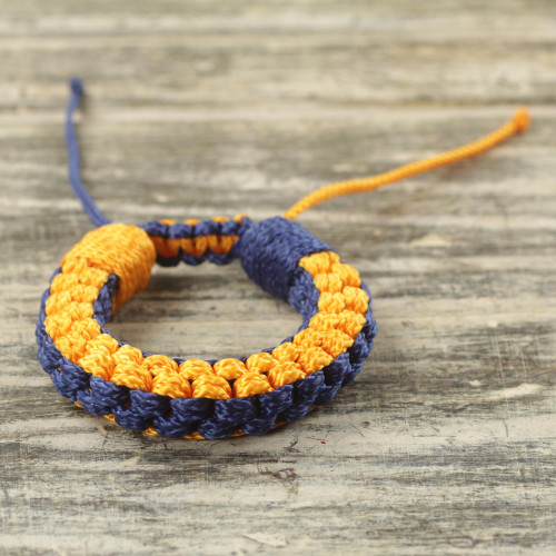 Men's Hand Woven Wristband Bracelet in Blue and Gold 'Awindazi Golden Blue'