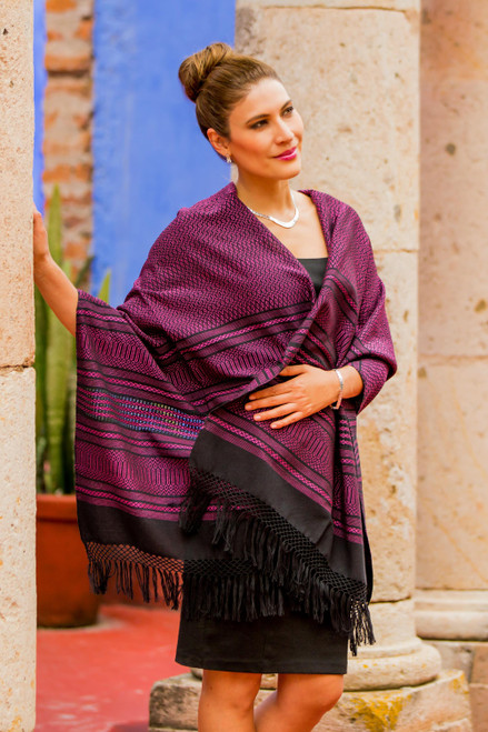Bright Pink and Black Cotton Handwoven Zapotec Shawl 'Mexican Rose'