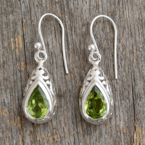 Peridot and Sterling Silver Earrings Fair Trade Jewelry 'Mughal Adoration'