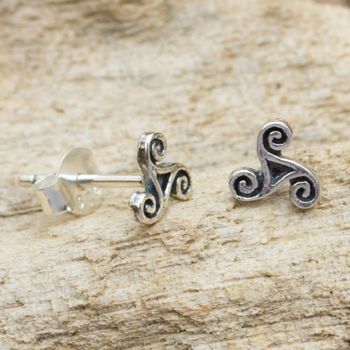 Celtic Inspired Artisan Crafted Silver Spiral Stud Earrings 'Celtic Spiral'