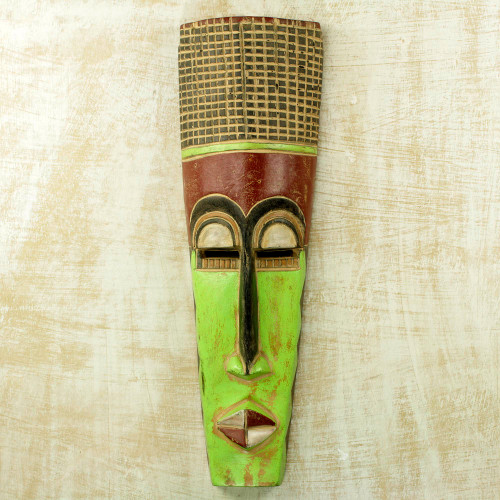 Slender 20-Inch Hand Carved Neon Green West African Mask 'Tall Man'