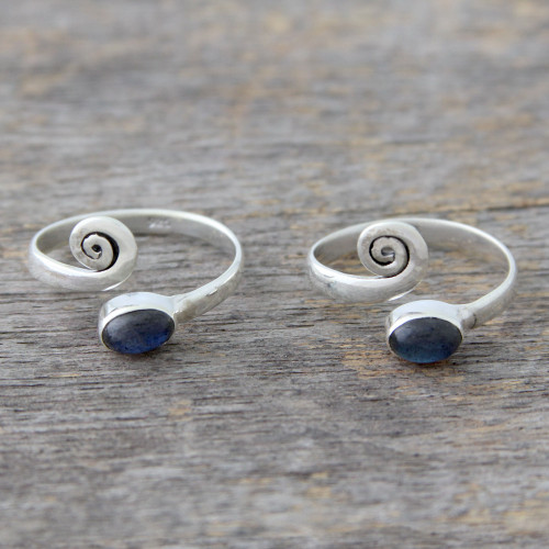 Sterling Silver Labradorite Toe Rings from India Pair 'Curls'