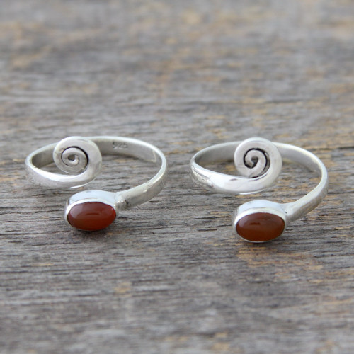 Handcrafted Carnelian and Sterling Silver Toe Rings Pair 'Curls'