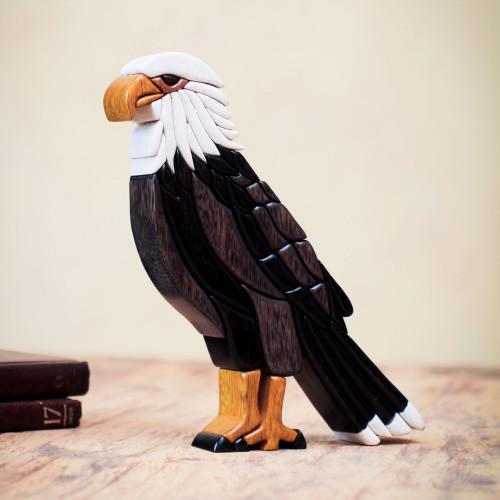 Bald Eagle Cedar and Mahogany Statuette Artisan Crafted 'Bald Eagle'