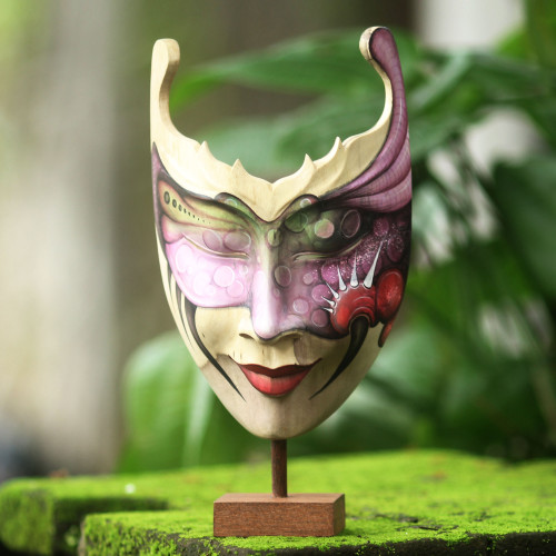 Hand Painted Modern Balinese Mask and Stand 'Mysterious Woman'