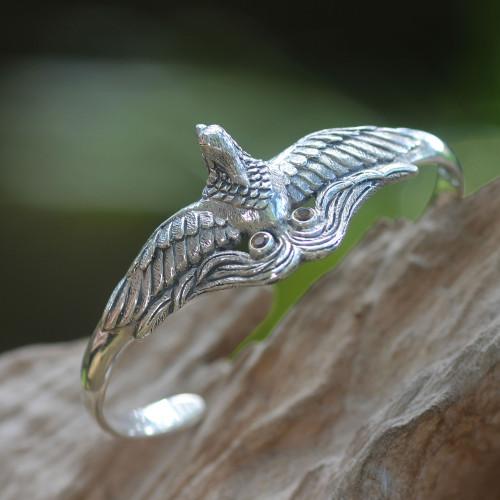 Artisan Crafted Bird Theme Citrine and Silver Cuff Bracelet 'Bird of Paradise'
