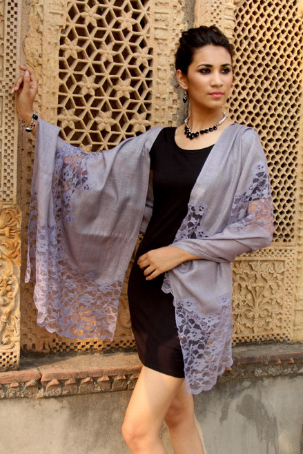 Artisan Crafted Lacy Lavender Wool Blend Shawl 'Wisteria Lace'