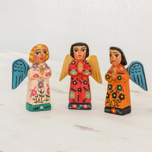 Fair Trade Angel Figurines Hand Crafted Sculptures Set 3 'Angelic Guardians of Peace'