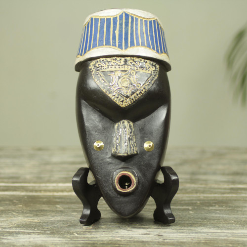 Ghana Handcrafted Genuine African Mask and Display Stand 'Ewe Blessing'