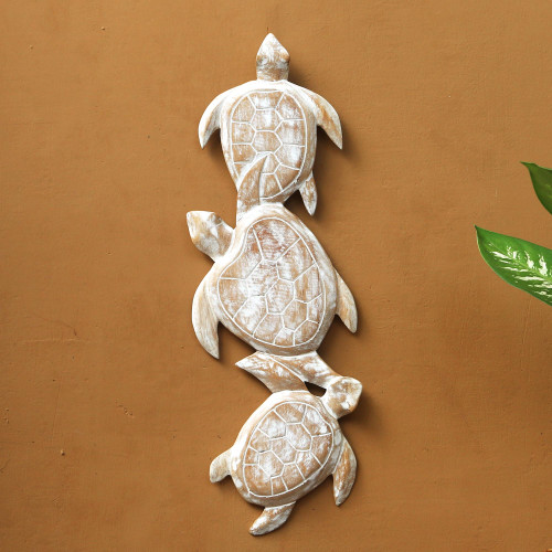 Antiqued White Wood Turtle Theme Relief Panel Carving 'Sea Turtle Trio'