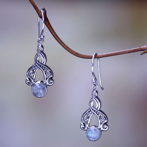 Bali Fair Trade Silver Earrings with Rainbow Moonstone 'Delicate Radiance'