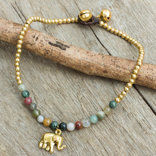 Elephant Charm Agate and Beaded Brass Anklet 'Stylish Elephant'