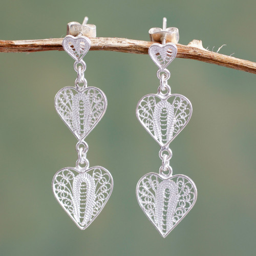 Handcrafted Filigree Heart Theme Silver Earrings 'Three Hearts'
