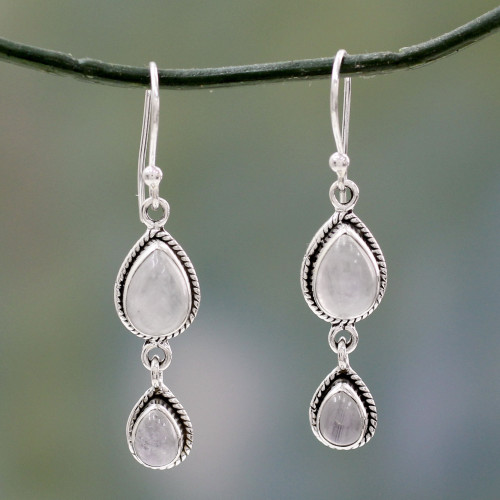 Rainbow Moonstone Fair Trade Earrings with Sterling Silver 'Misty Teardrops'