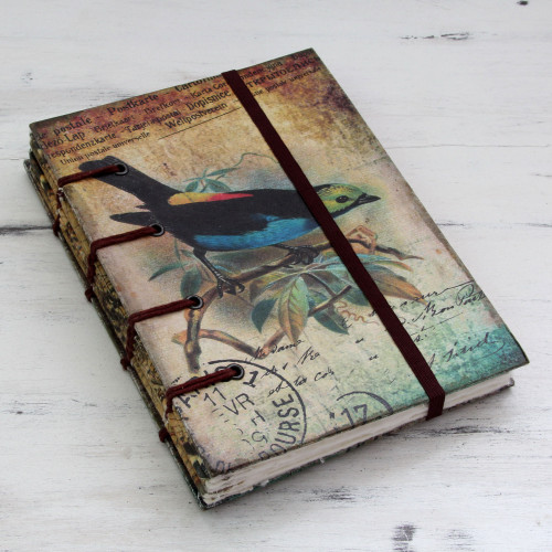 Rustic Bird Theme Journal of Handcrafted Paper 'Message in Song'