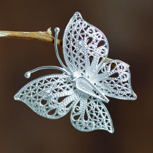 Filigree Butterfly Brooch Pin Handmade in Sterling Silver 'Catacos Butterfly'