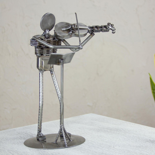 Mexico Eco Friendly Recycled Auto Part Rustic Sculpture 'Rustic Violin Virtuoso'