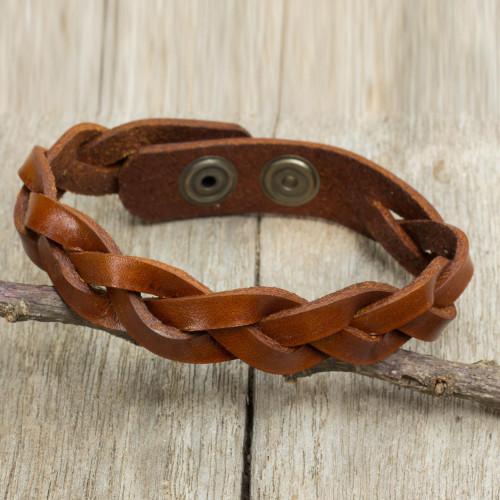 Men's Leather Braided Wristband Bracelet in Caramel Brown 'Caramel Rope'