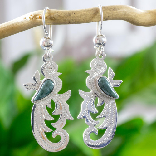 Hand Crafted Sterling Silver Bird Earrings with Jade Wing 'Forest Quetzal'