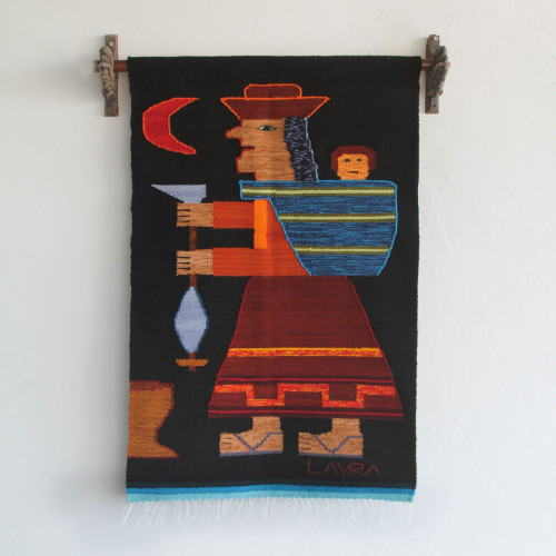 Artisan Handwoven Wool Tapestry from the Andes 'Spinning Yarn'