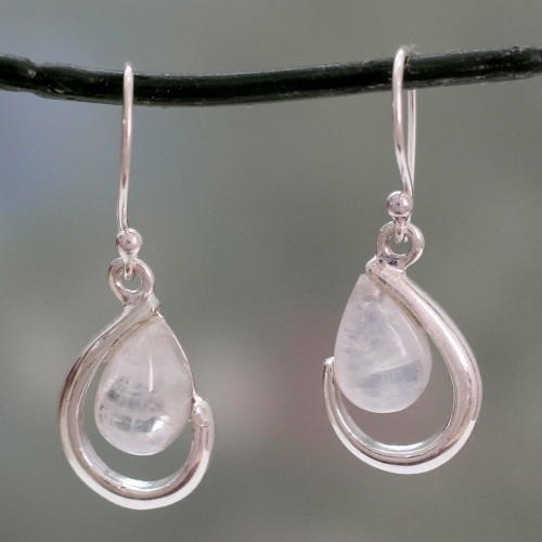 India Handcrafted Rainbow Moonstone Earrings 'Sublime Symmetry'