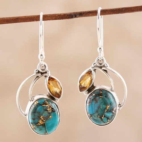 Composite Turquoise and Citrine Silver Dangle Earrings 'Modern Mystique'