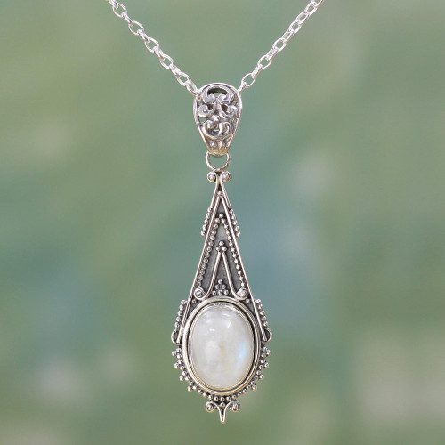 Handcrafted Moonstone Sterling Silver Necklace 'Moonlight Radiance'