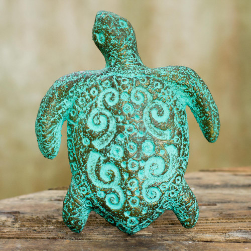 Recycled Paper Turtle Wall Art Sculpture Crafted by Hand 'Wise Old Turtle'